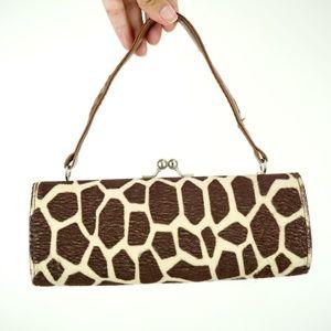 Vintage Bags - 90s Giraffe Print Clutch Purse, Animal Print Bag